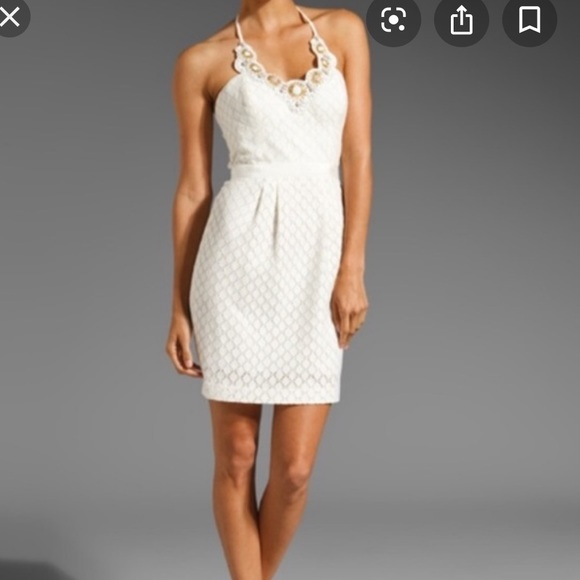 Trina Turk Dresses & Skirts - Trina Turk Ivory Beaded Halter Sz 0